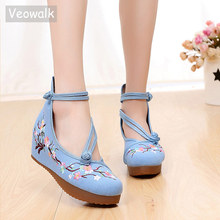 Veowalk Flowers Embroidered Women High Top Canvas Hidden Flat Platforms Ankle Dual Strap Ladies Casual Denim Cotton Shoes