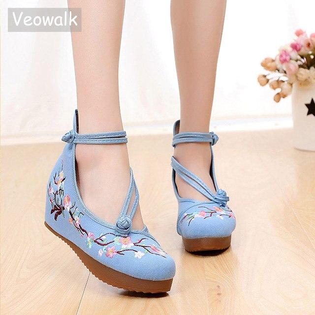 Veowalk женские высокие холщовые туфли с цветочной вышивкой, на скрытой плоской платформе, с двумя ремешками, женские повседневные хлопковые джинсовые туфли