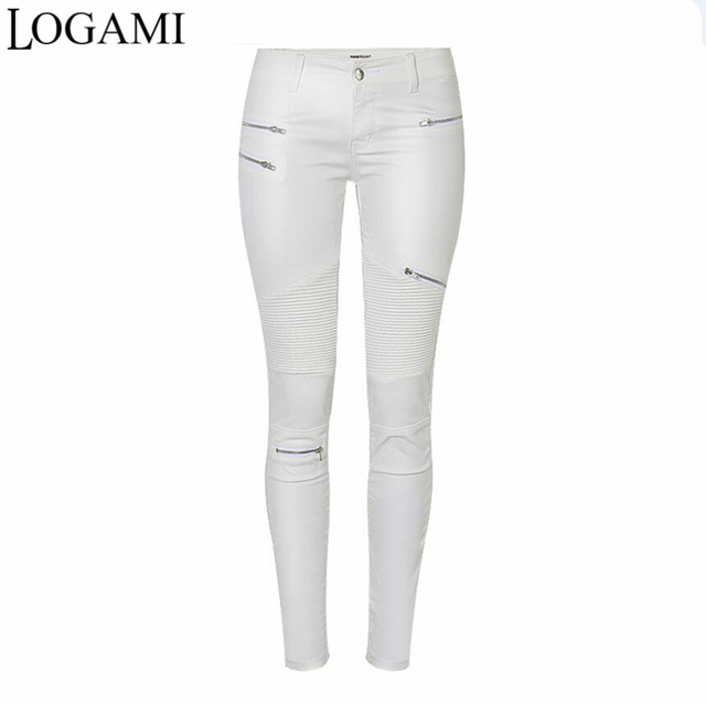 7ed0819675891 LOGAMI Faux Leather Pants Women Elastic Pencil Trousers Womens Zipper  Motorcycle Slim Pants White Pantalon Femme