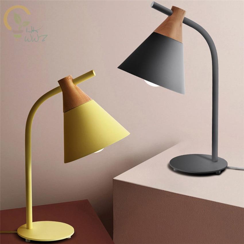E27 Moderne LED Tisch Lampe Nacht Lichter Schlafzimmer Neben Licht Nordic Holz Bunte Lampen für Lesen Kinder zimmer Dekoration-in LED-Tischleuchten aus Licht & Beleuchtung bei title=