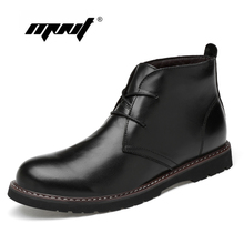 Full Grain Leather Men Boots Winter Shoes Plus Size Handmade Warm Ankle Plush Fur Dropshipping