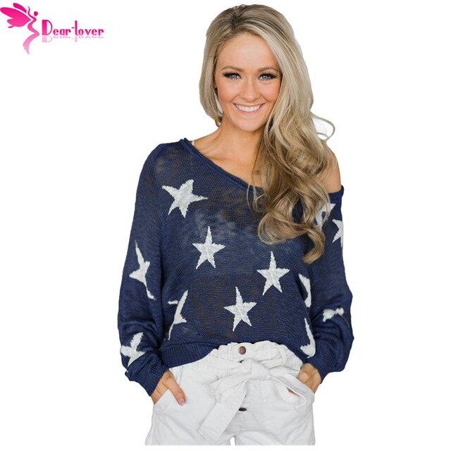 b6d161ec1e Dear Lover Long Sleeve Sweaters Women 2018 Autumn Fashion Sexy Blue Stars  Pattern Knit Sweater Pullovers Tops Pull Femme LC27943