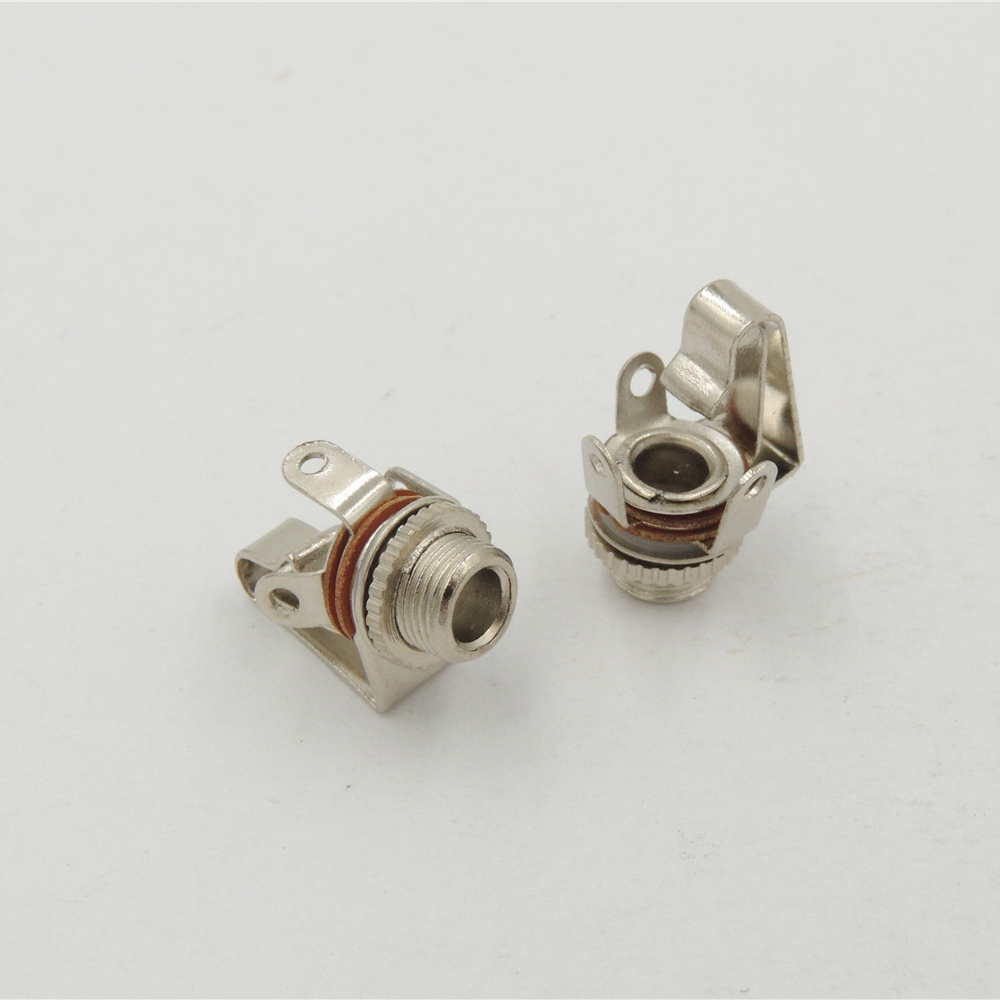 "100PCS 1/8"" 3.5mm female Mono Jack Chassis Panel mount Socket With Switch Audio Solder CONNECTOR-in Connectors from Lights & Lighting"