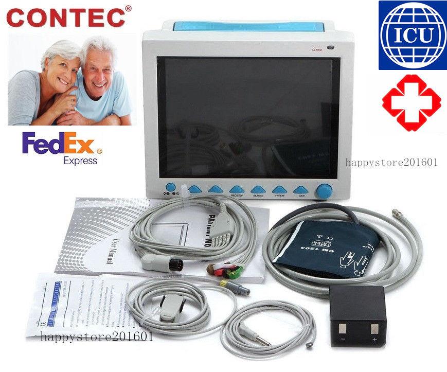 US seller ICU CE Patient Monitor 6 parameter Vital Sign ECG NIBP RESP TEMP SPO2 Pr FDA ,CONTEC ,CMS8000,1 Year Warran hughes vertibrate resp comp physlgy
