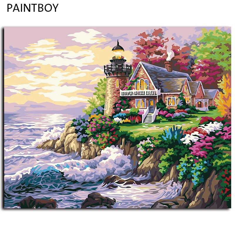 DIY pintura por números casa de playa imagen enmarcada pintura ...