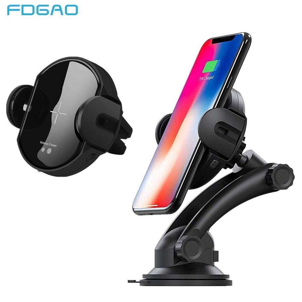 FDGAO Infrarot Sensor Auto Automatische Drahtlose Ladegerät Für iPhone XR XS Max X 8 Samsung S9 S8 Hinweis 9 8 s7 Air Vent Halterung Halter QI