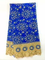 African Lace Fabric 2015 New Arrival Blue Gold African Cord Lace Guipure Lace Fabrics High Quality