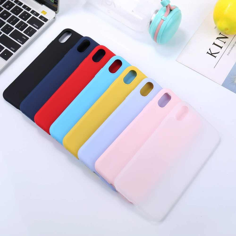 Meskey teléfono caso para iPhone 7 Plus 6 6 s 8X5 5S SE XR XS MAX Simple Ultrathin suave TPU funda para teléfono Color caramelo