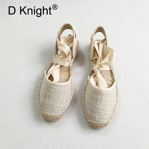 Image 1 - Düz kadın sandalet Espadrille ayakkabı kadın 2019 yaz rahat ayakkabılar loaferlar kadın ayak bileği kayışı sandalet örgü ayakkabı beyaz kenevir ayakkabı