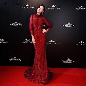 02d4e6e6bd9cff6 Angel Novias с длинными рукавами Русалка для красной дорожки, популярное  платье 2018 длиной в Пол, Бордовое платье с высоким воротом для выпускного .