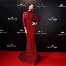 Angel Novias Long Sleeve Mermaid Red Carpet Celebrity Dress 2018 Floor Length Burgundy High Neck Prom Dress