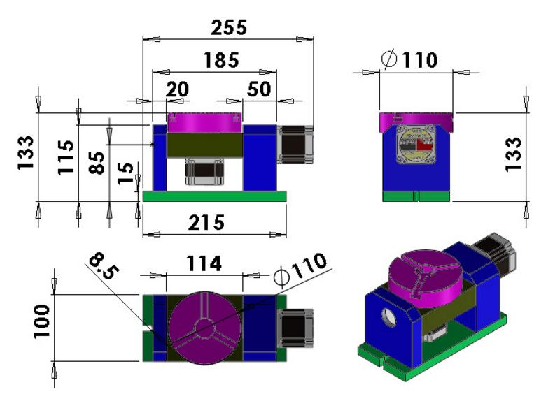 CNC drehachse Harmonische Getriebe Teilapparat CNC 4 achsen Chuck 100mm 5th achse reitstock 50: 1 harmonic minderer für CNC Maschine