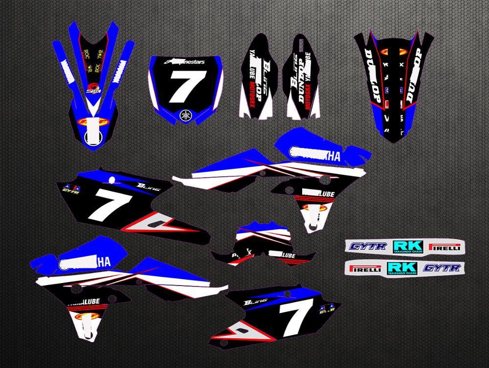 Moto graphique fond autocollant complet personnalisable numéro nom décalcomanies pour Yamaha YZF250 YZF 250FX YZF 250 FX 2014-2018