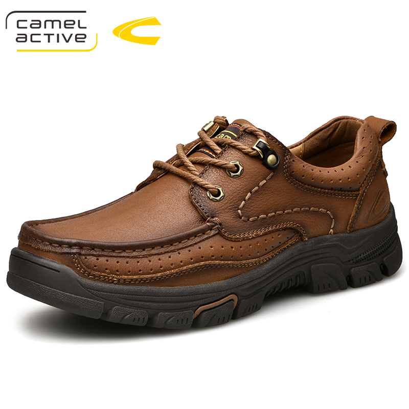 Camel Active New Mens Genuine Leather Oxfords Spring Autumn Waterproof Moccasins Lace-Up Men Casual Shoes Outdoors Man Shoes
