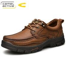 גמל פעיל חדש Mens עור אמיתי נעלי אוקספורד אביב סתיו עמיד למים מוקסינים שרוכים גברים נעליים יומיומיות בחוץ נעלי גבר