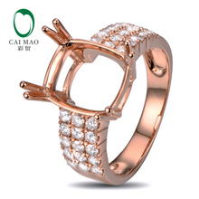 Caimao 10x12mm Cushion Cut Semi Mount Setting Ring 14K Rose gold Natural 0.78ct Diamond Engagement Jewelry