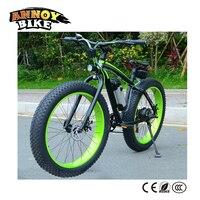 雪電動マウンテンバイク36ボルト500ワット10ahリチウムバッテリー9速度電動自転車アルミボディ黒と緑