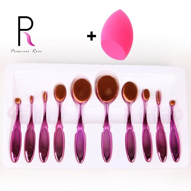 Princesa rosa 10 unids cepillo de dientes oval maquillaje pinceles de maquillaje cepillo conjunto de pincel maquiagem maquillage pinceis brochas pinceaux kit
