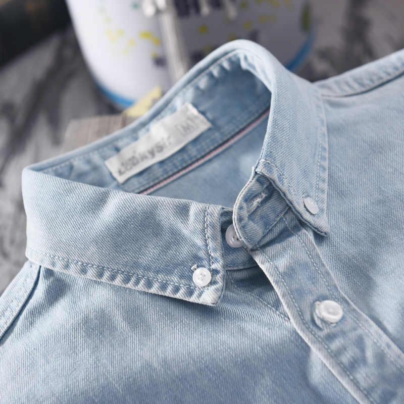 Nowy 2019 mężczyzna dorywczo koszula dżinsowa 100% bawełna jednolity kolor, długi rękaw topy człowiek wysokiej jakości niebieska koszula koszulka homme plus rozmiar 4XL 18021