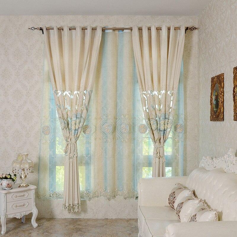 European Luxury Beige Curtain Kitchen 3d Curtains For