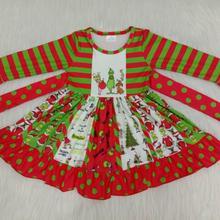 Wholesale/retail striped dress baby girls hipster cartoon Ch