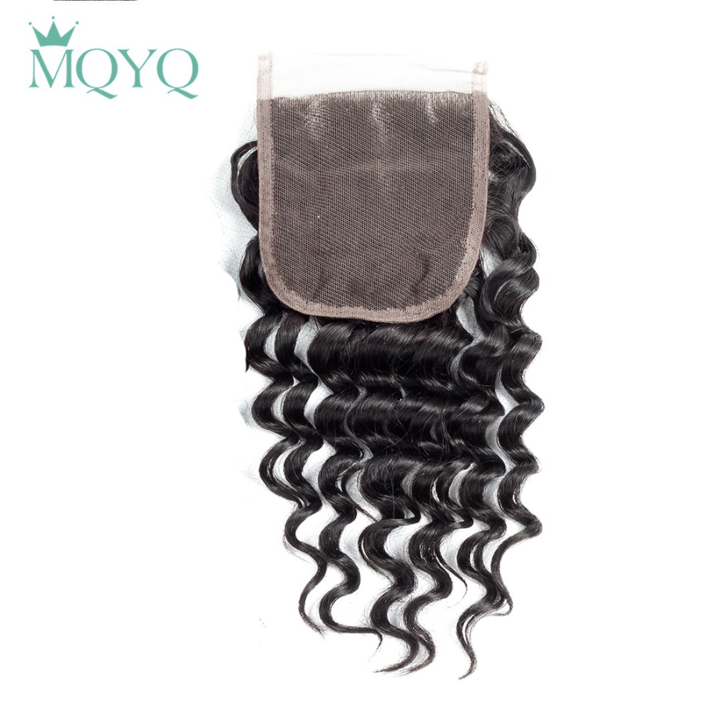 MQYQ Malaysian Deep Wave 4*4 Lace Closure Human Hair Closure Deep Curl Middle Free Three Part Lace Non Remy Hair Natural Color
