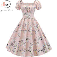 Plus Size Summer Dress 2019 Women Puff Sleeve Swing Vintage Dresses Robe Femme Elegant Floral Print Pin Up Party Dresses Jurken