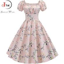 Artı boyutu yaz elbisesi kadın puf kollu salıncak Vintage elbiseler Robe Femme zarif çiçek baskı Pin Up parti elbiseler Jurken