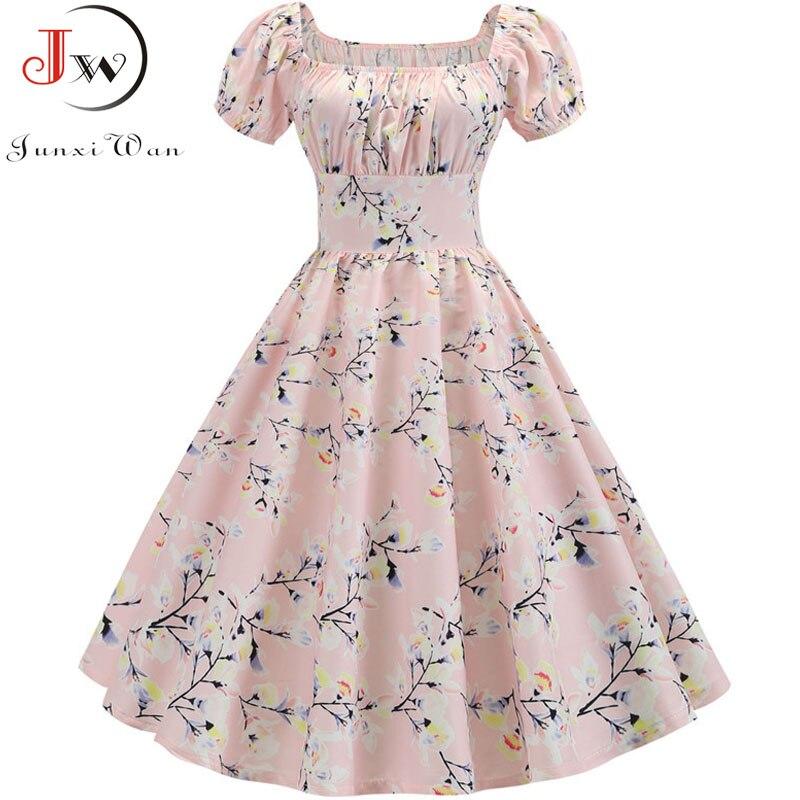 Plus Size Summer Dress 2019 Women Puff Sleeve Swing Vintage Dresses Robe Femme Elegant Floral Print Pin Up Party Dresses Jurken