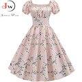 Plus Größe Sommer Kleid Frauen Puff Hülse Swing Vintage Kleider Robe Femme Elegante Blumen Druck Pin Up Party Kleider Jurken
