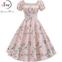 Plus rozmiar letnia sukienka kobiety bufiaste rękawy huśtawka sukienki Vintage szata Femme elegancki kwiatowy druku Pin Up Party sukienki Jurken