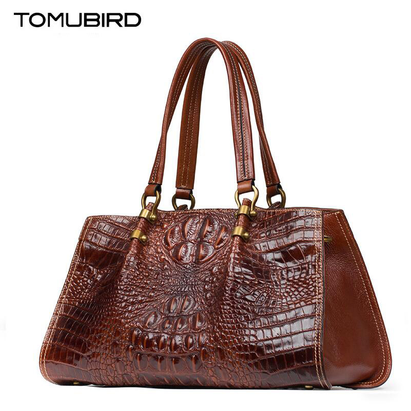 TOMUBIRD New Superior cowhide leather Classic Designer Embossed Crocodile Genuine Leather Tote Top Handle Handbags tomubird new quality cowhide material embossed crocodile tote famous brand women bag fashion genuine leather handbags