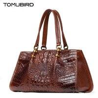 TOMUBIRD New Superior cowhide leather Classic Designer Embossed Crocodile Genuine Leather Tote Top Handle Handbags