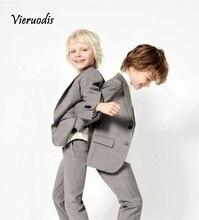 boys short Light Grey Kids 2 Piece Formal Wedding Groom Tuxedos Boys Party