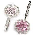Fashion Jewelry Pink Tourmaline, White CZ SheCrown Wedding Created  Silver Earrings 37x19mm