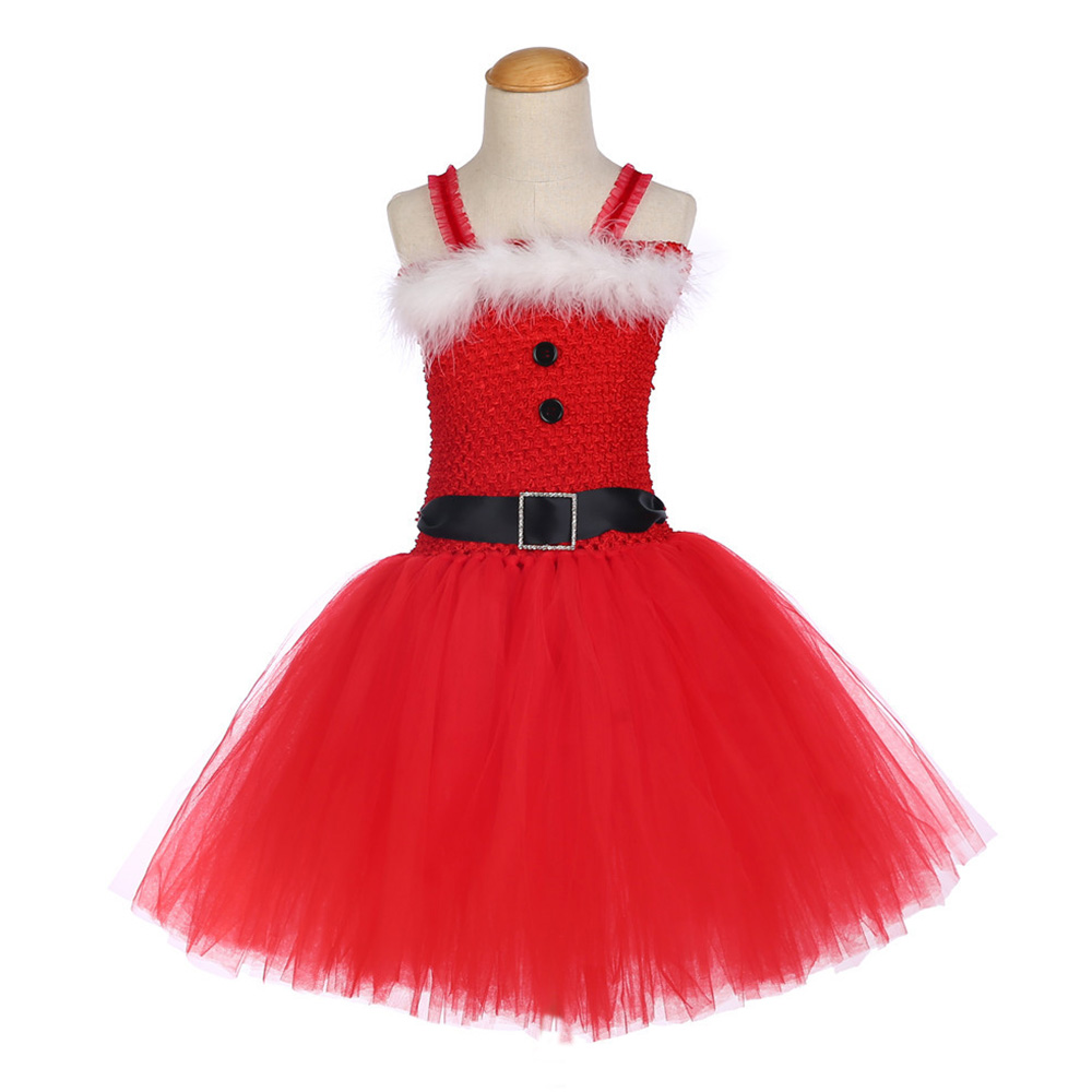 Girls Christmas Santa Winter Dress with Feather and Sashes Handmade Red Puffy Dress for Kids Birthday Tutu Party Dress Clothes (2)