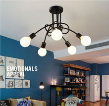 Wrought iron chandelier hot Vintage industrial loft ceiling light with 5 lights (black) 3 bulbs not included