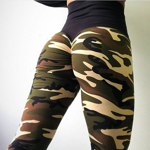 Image 3 - Hayoha Fashion Camouflage Wrinkles Push Up Leggings Women Fitness Slim Jeggings High Elastic Dry Quick Sporting Pants and Tops