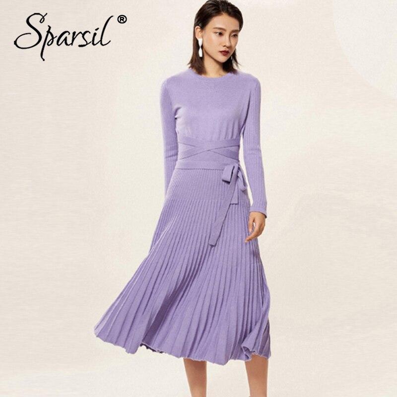 Dress green Sleeve caramel Knit Purple Cashmere wine Lady Dresses O oatmeal Neck Long Sash Female Black Knitted Red Elegant light Women Pleated Wool Winter Sparsil gray Office Awq18XA
