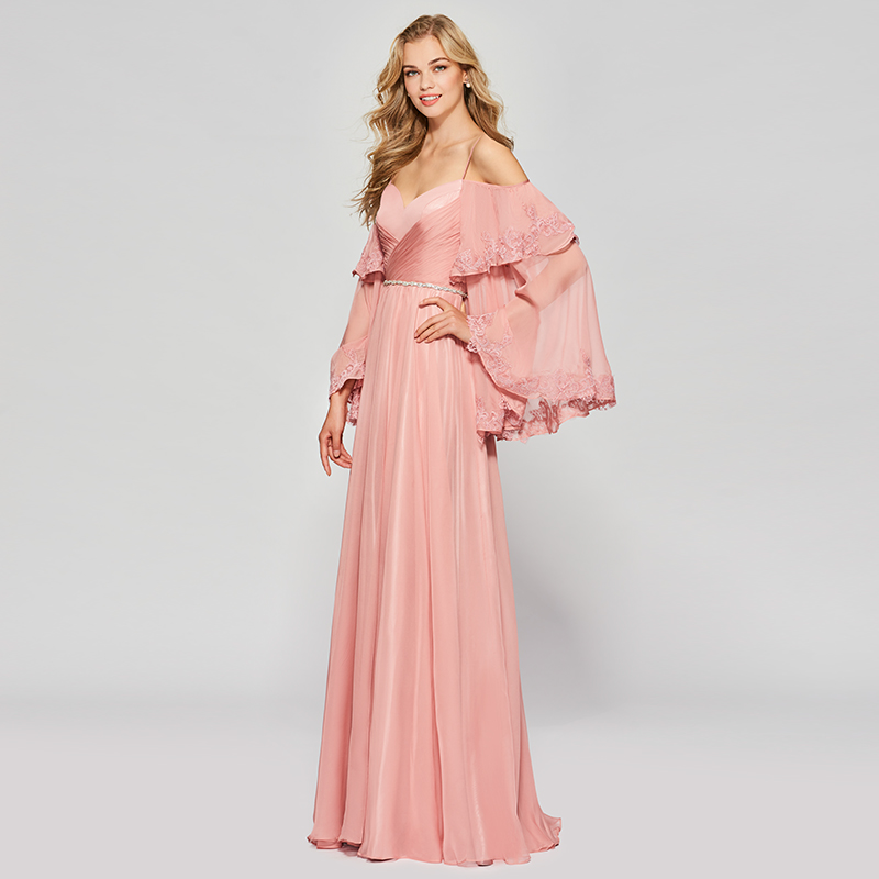 Tanpell long prom dresses bright dark pink full sleeves floor length ...
