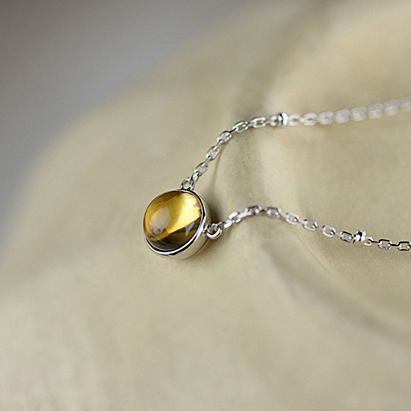 Natural Yellow Crystal Citrine 925 Sterling Silver Pendant Necklace 100% Pure 925 Sterling Silver necklace for Women Jewelry elegant 925 pure silver necklace for women silver