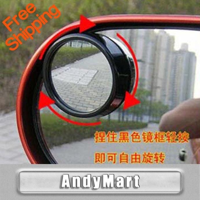 Couleur: noir Accessoires voiture Petit miroir rond R/étroviseur de voiture Angle mort Objectif grand angle Rotation /à 360 degr/és r/églable