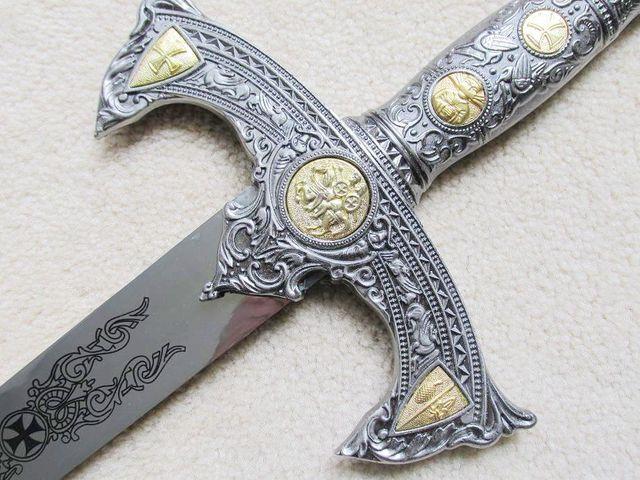 MEDIEVAL 12TH CENTURY ESPADA TEMPLAR KNIGHTS CRUSADER SWORD W/ PLAQUE 48 1