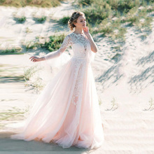 Eightree Custom Made O Neck A-Line Wedding Dresses With Lace Long Flare Sleeves Plus Size Appliques Beach Wedding Bridal Gown