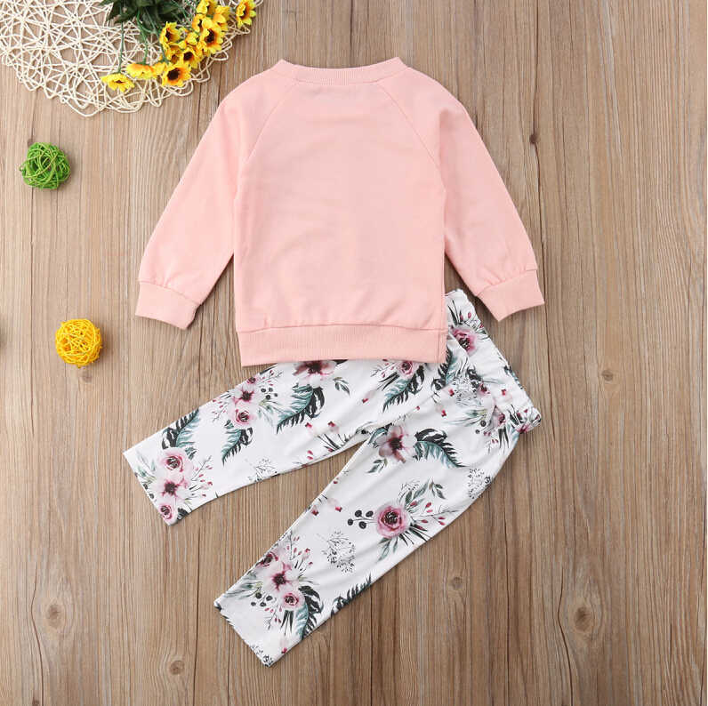 Pants Trousers Leggings Outfit Baby Girl Kids Clothing Set Long Sleeve Floral Print T-Shirt Top