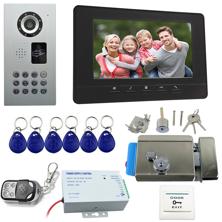 7Inch Video Door Phone Doorbell Handfree Intercom Kit Black/White color indoor monitor whit Electronic door lock Waterproof IP65