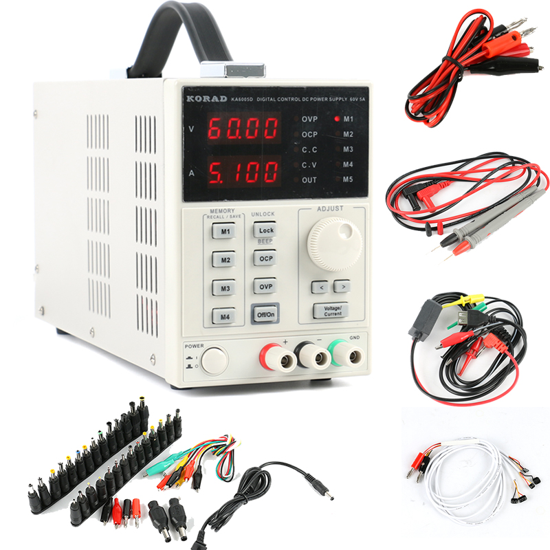 KORAD KA6005D Digital Regulated Programmable Precision Variable Adjustable Linear Switch DC Power Supply 60V 5A + DC AC Jack set rps6005c 2 dc power supply 4 digital display high precision dc voltage supply 60v 5a linear power supply maintenance