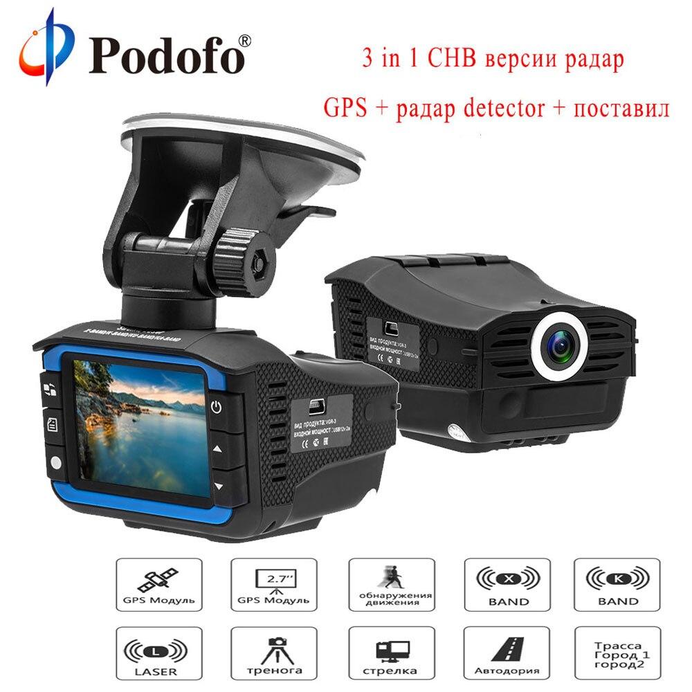 Podofo Russe 3 en 1 Enregistreur de Conduite Nuage Électronique Chien Dash Cam Nuit Vision Radar Détecteur G-capteur De Voiture vidéo Enregistreur