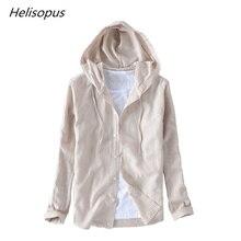 เสื้อลำลองผู้ชายผ้าฝ้ายผ้าลินินเสื้อผู้ชาย ฤดูใบไม้ร่วง Helisopus camisa