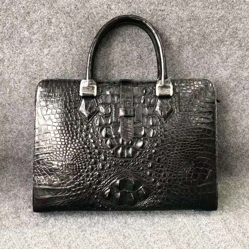 Men Briefcase Shoulder-Bags Genuine Business-Bag Laptop Luxury UBEJ0010 Alligator